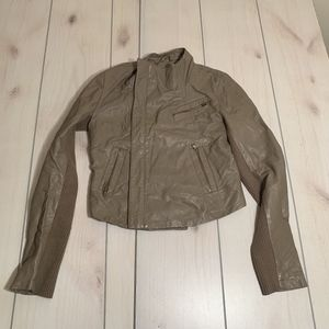 womens S RD Style brown leather jacket